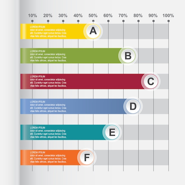 Bar chart graph diagram statistical horizontal infographic Vector