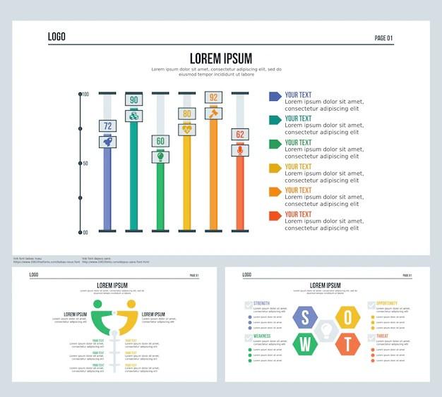 Bar, comparison, swot, set presentation slide and powerpoint