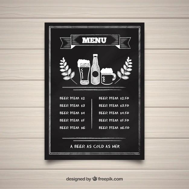 Bar menu template in blackboard style Vector Free Download