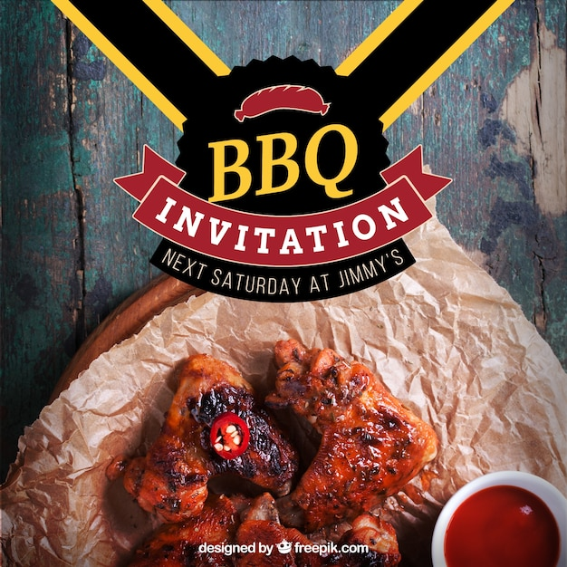 Barbecue invitation, template Vector Free Download