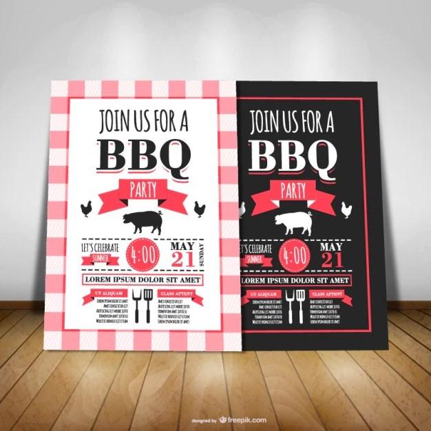Barbecue party invitation Vector Free Download