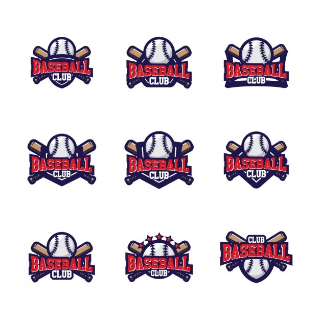 Baseball logo templates design Vector Free Download