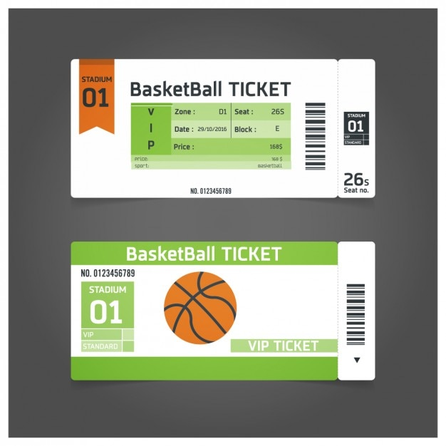 Basketball match ticket template Vector Free Download - Ball Ticket Template