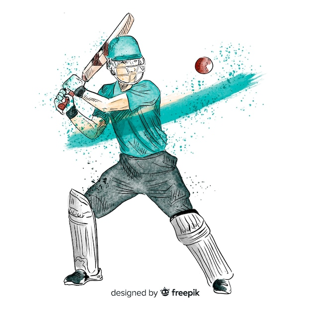Batsman playing cricket in watercolor style Vector Free Download