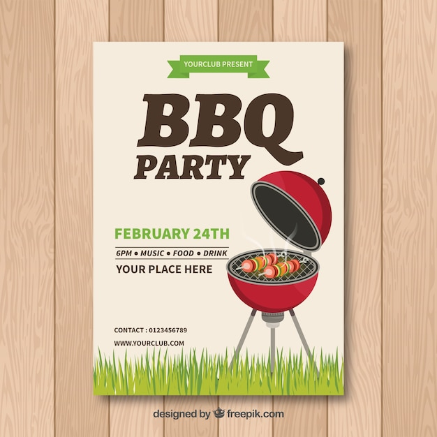 Bbq invitation template with grill Vector Free Download