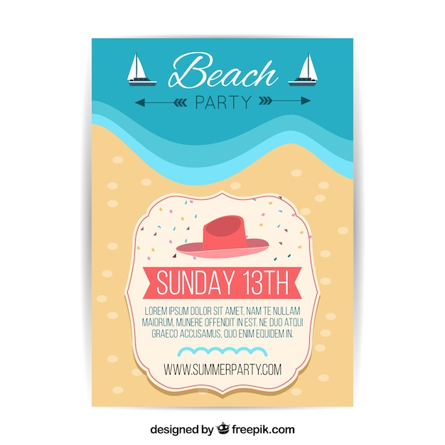 Beach party flyer template Vector Free Download