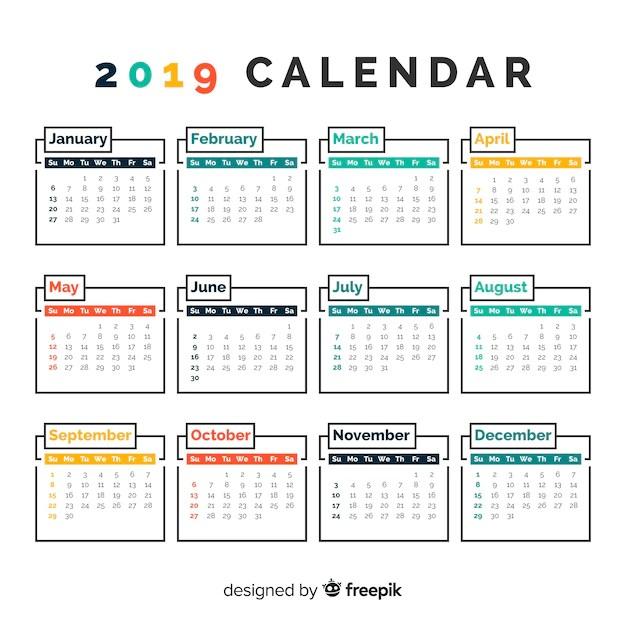 Beautiful 2019 calendar template Vector Free Download - calendar template