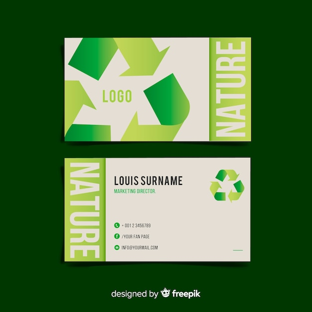 Beautiful business card with nature design Vector Free Download