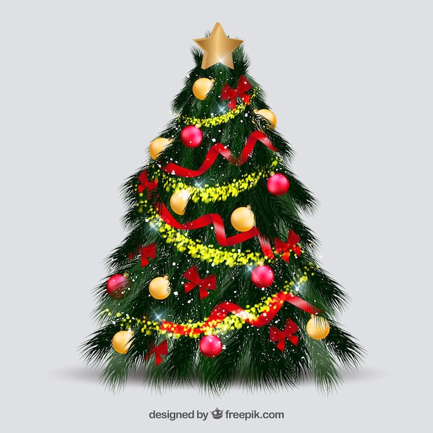 Beautiful decorated christmas tree Vector Free Download - beautiful decorated christmas trees