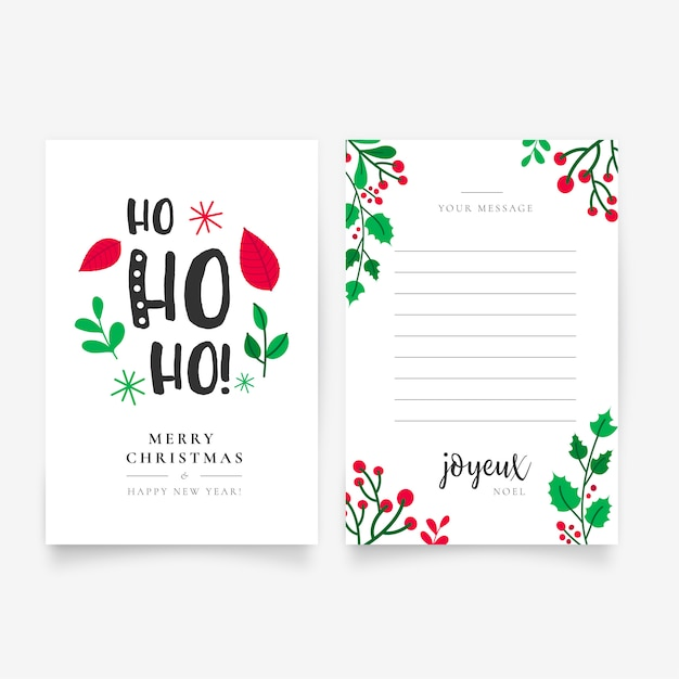 Beautiful hand drawn christmas letter template Vector Free Download