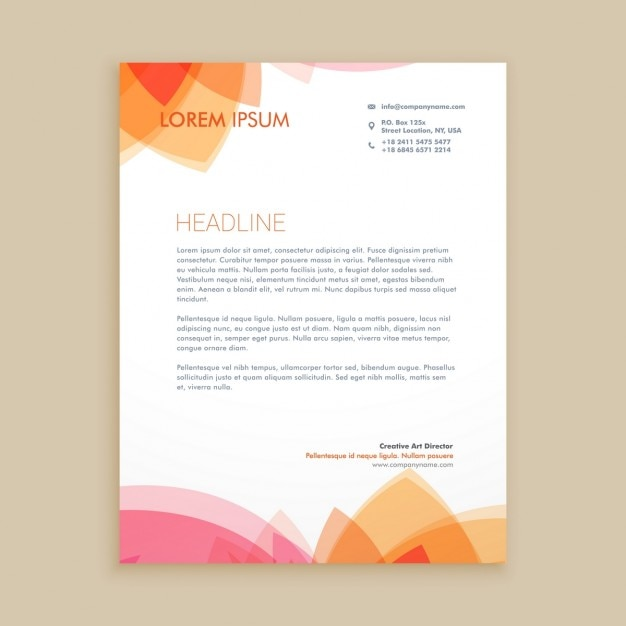 Beautiful letterhead design Vector Free Download - Free Business Letterhead Templates For Word