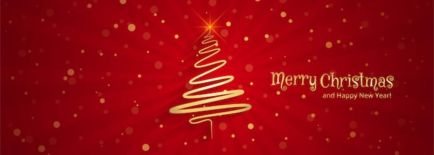Beautiful merry christmas tree banner template design Vector Free