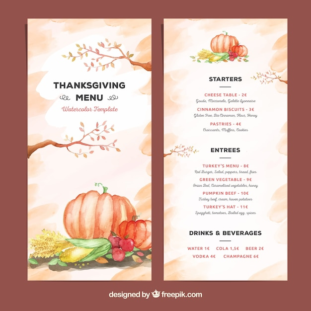 Beautiful watercolor thanksgiving menu template Vector Free Download