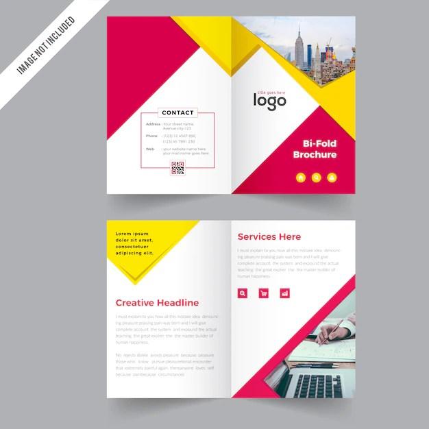 Bi fold Business Brochure Design Vector Premium Download - two fold brochure