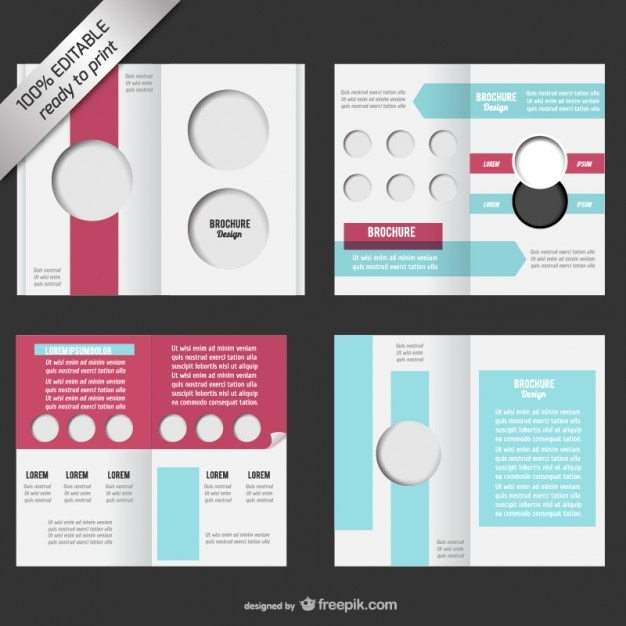 Bi-fold editable brochure mock-up Vector Free Download
