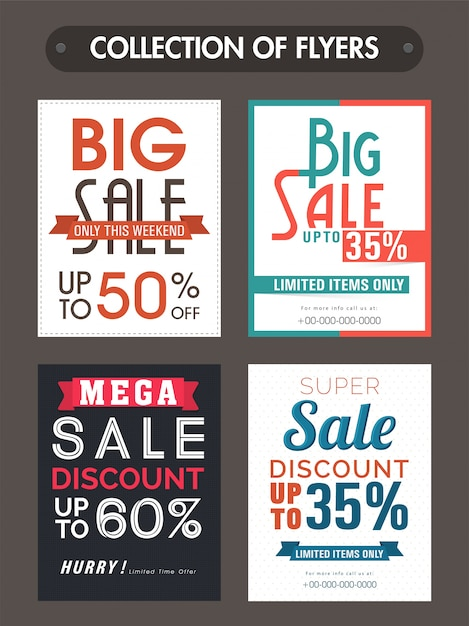 Big Sale and Discounts templates, banners or flyers collection - discount flyer template