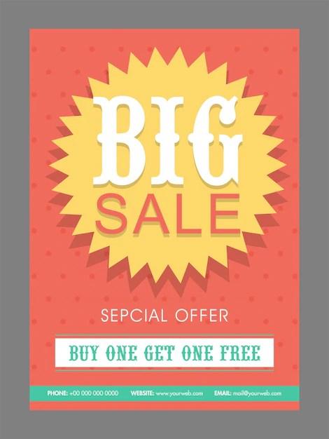 Big Sale poster, banner or flyer design with special discount offer - sale poster design