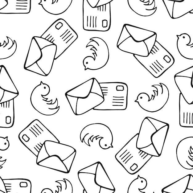 Birds and letter mail seamless pattern Doodle mail vector - mail background