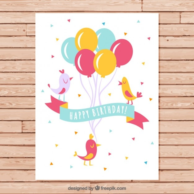 Birds with balloons birthday card Vector Free Download