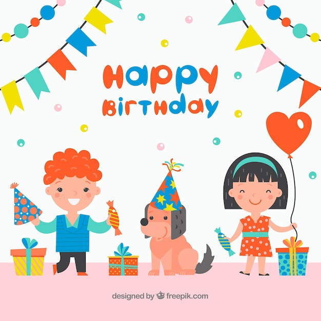 Birthday background with kids and dog Vector Free Download