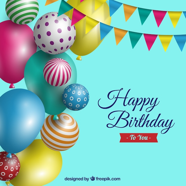 Birthday background with realistic balloons Vector Free Download - birthday backround