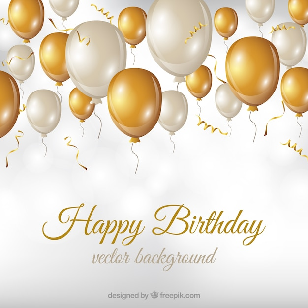 Birthday background with white and golden balloons Vector Free - birthday backround