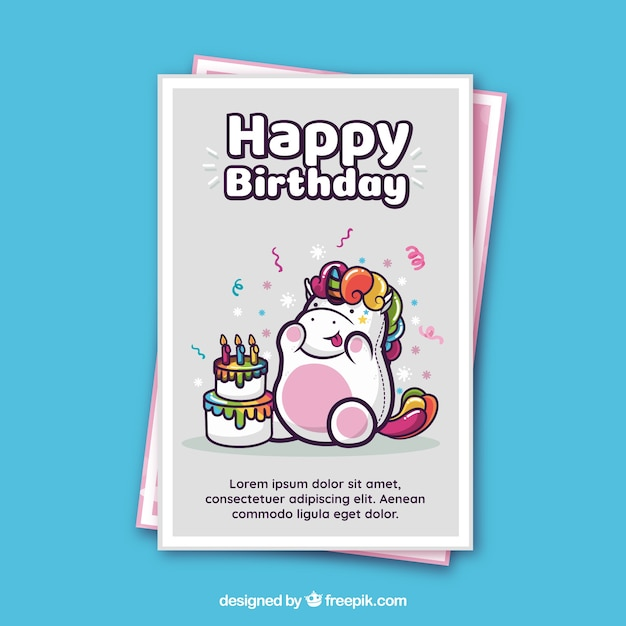 Birthday card template with a unicorn Vector Free Download - template for a birthday card