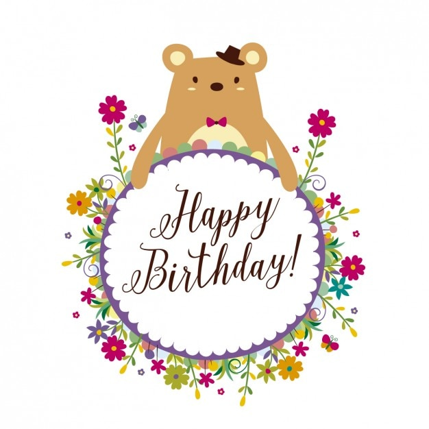 Birthday card with floral frame Vector Free Download - frame for cards