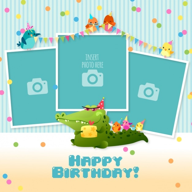 Birthday card with templates for photos Vector Free Download - template for a birthday card
