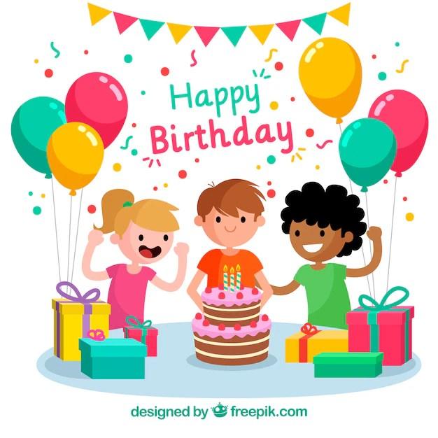 Birthday celebration background with children Vector Free Download