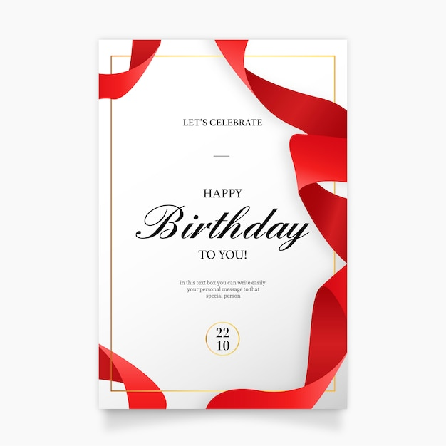 Birthday invitation card with red ribbon Vector Free Download
