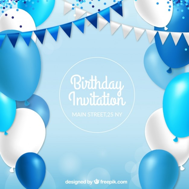 Birthday invitation with blue balloons Vector Free Download