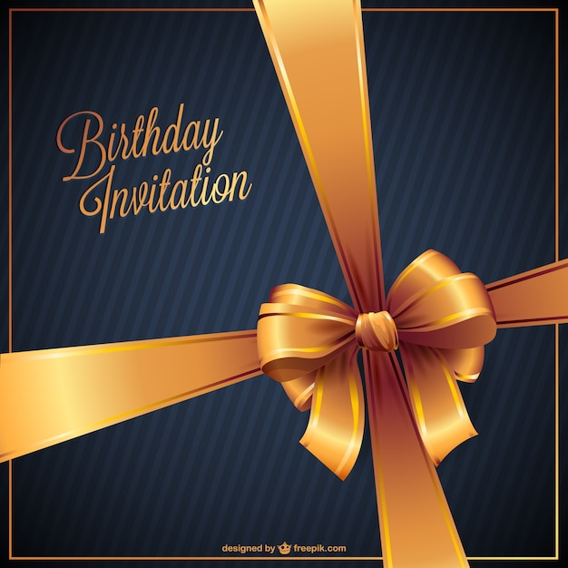 Birthday invitation with golden ribbon Vector Free Download