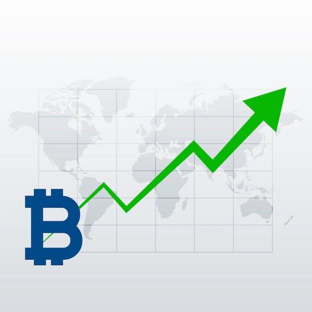 Bitcoins upward trend growth chart vector Vector Free Download