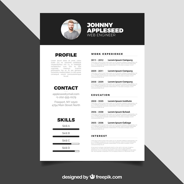 Black and white resume design Vector Free Download - Resume Design