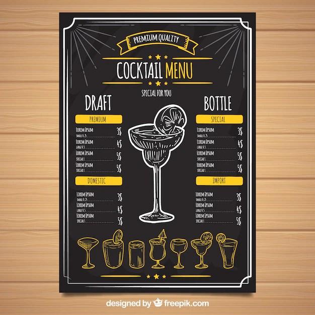Black cocktail menu template Vector Free Download