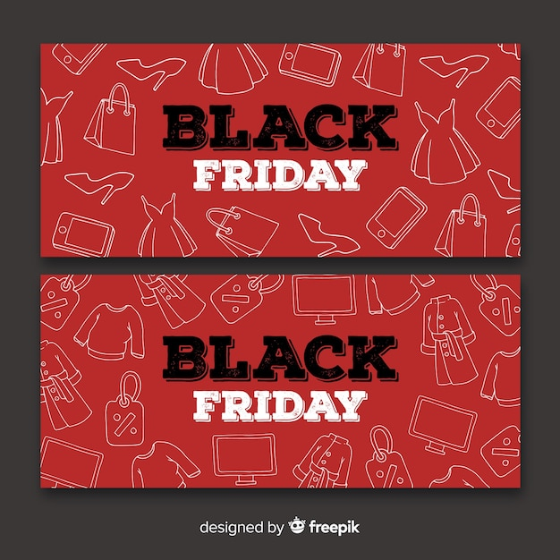 Black friday sales banner templates hand drawn style Vector Free