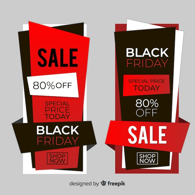 Black friday sales banner templates Vector Free Download