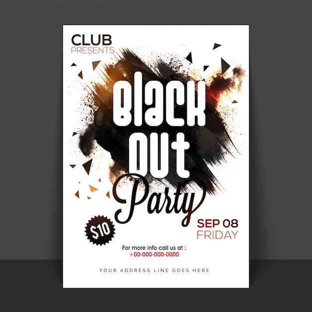 Black out party poster, banner or flyer with abstract brush strokes