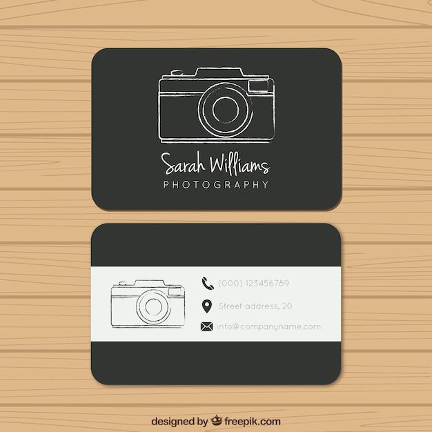 Black photography business card Vector Free Download