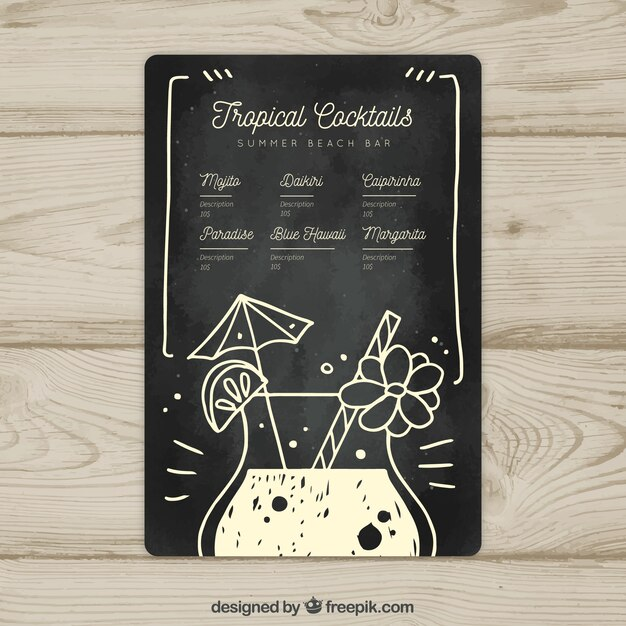 Black and white cocktail menu template Vector Free Download