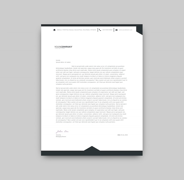 Black and white letterhead template Vector Free Download