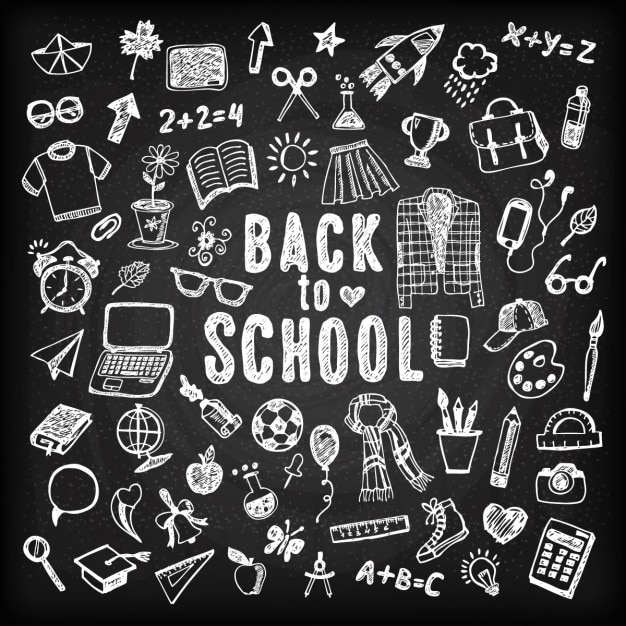 Blackboard background of back to school with sketches Vector Free - background sketches