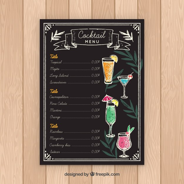 Blackboard style cocktail menu template Vector Free Download