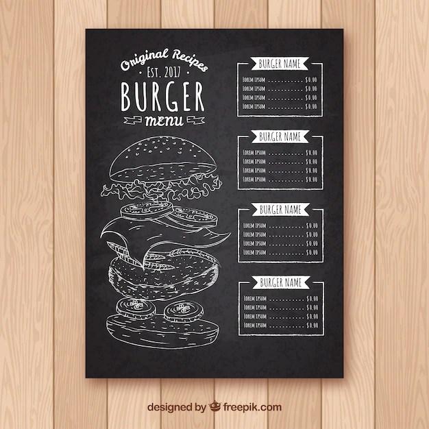 Blackboard with burger menu template Vector Free Download - menu design template