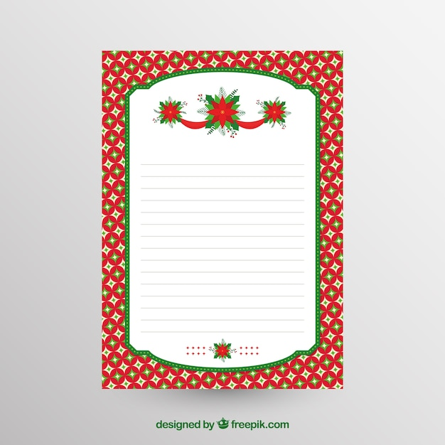 Blank christmas letter template Vector Free Download