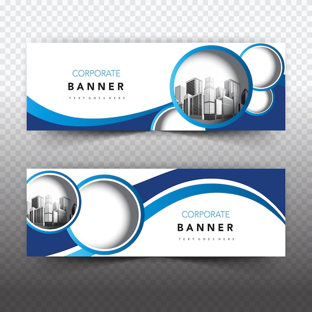Blue and white business banner Vector Free Download