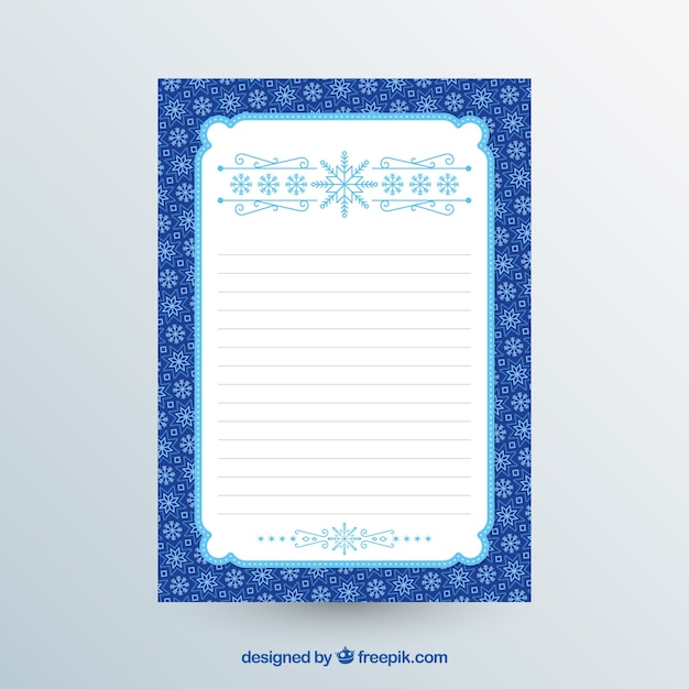 Blue and white christmas letter template Vector Free Download - christmas letter template free