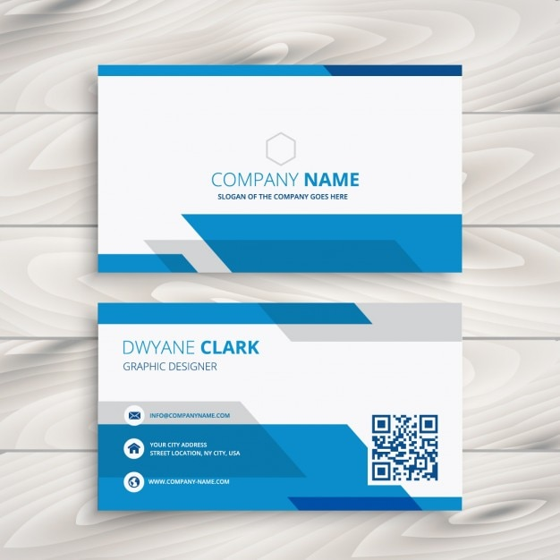 Blue and white corporate business card Vector Free Download