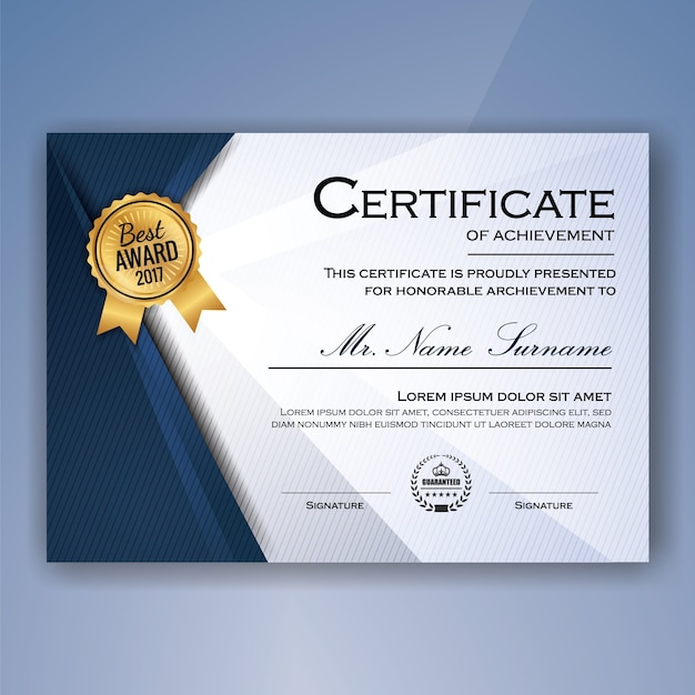 Blue and white elegant certificate of achievement template